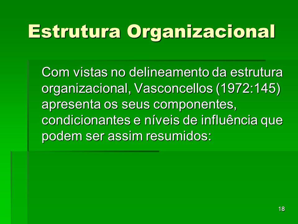 18 Estrutura Organizacional Com vistas no delineamento da estrutura organizacional, Vasconcellos (1972:145) apresenta os seus componentes, condicionan