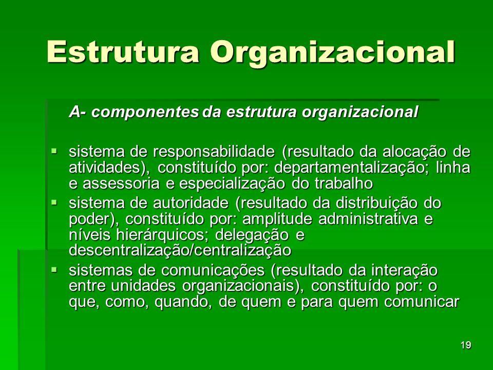 19 Estrutura Organizacional A- componentes da estrutura organizacional sistema de responsabilidade (resultado da alocação de atividades), constituído