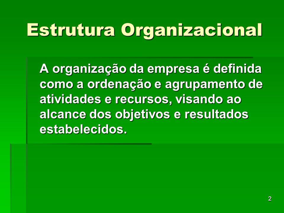 2 A organização da empresa é definida como a ordenação e agrupamento de atividades e recursos, visando ao alcance dos objetivos e resultados estabelec