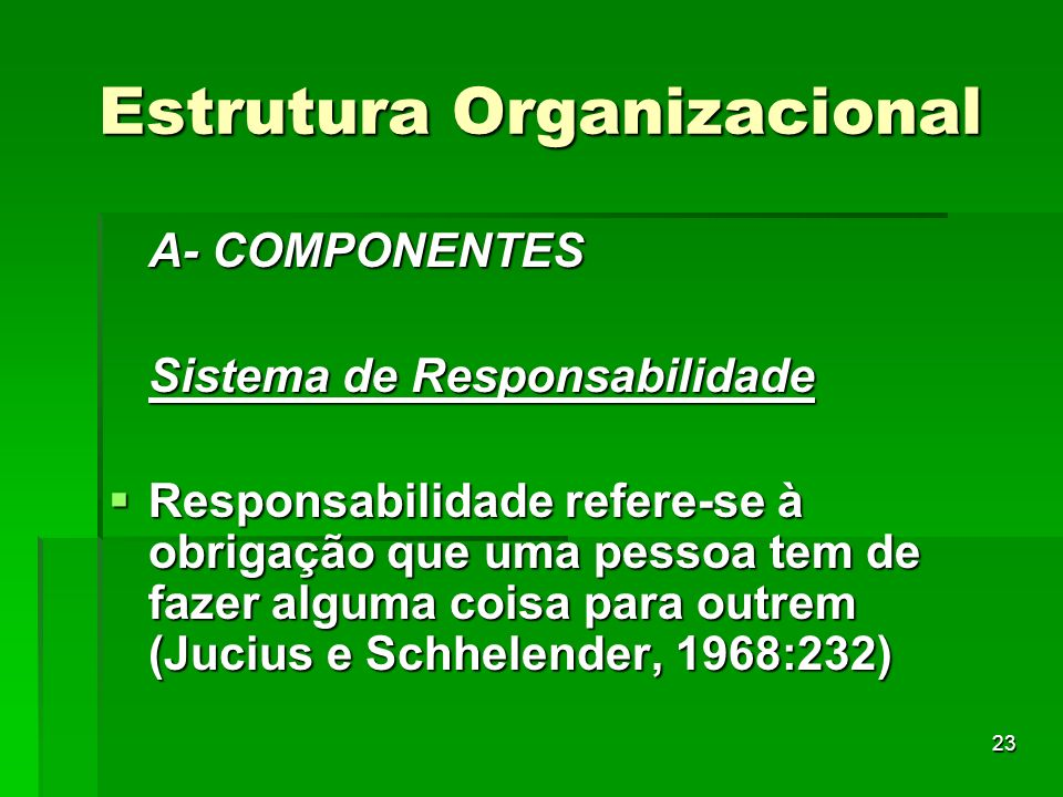 23 Estrutura Organizacional A- COMPONENTES Sistema de Responsabilidade Responsabilidade refere-se à obrigação que uma pessoa tem de fazer alguma coisa
