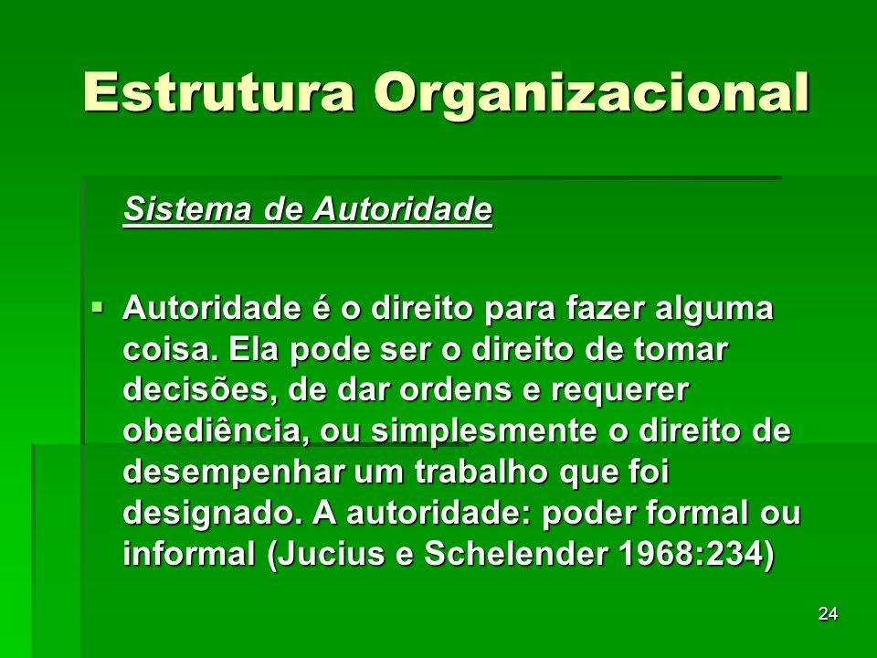 24 Estrutura Organizacional Sistema de Autoridade Autoridade é o direito para fazer alguma coisa. Ela pode ser o direito de tomar decisões, de dar ord