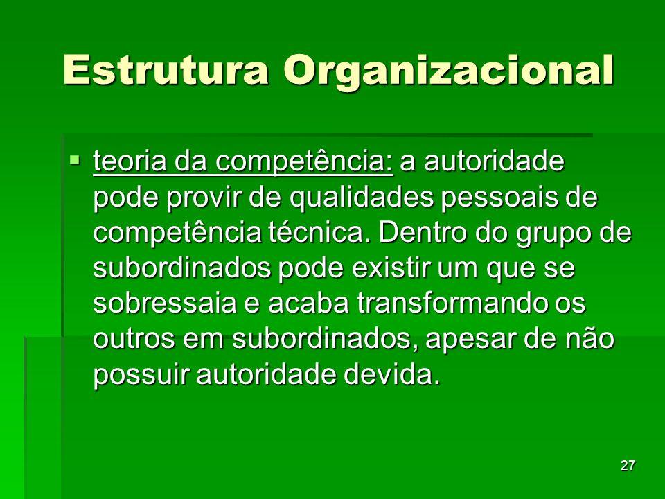 27 Estrutura Organizacional teoria da competência: a autoridade pode provir de qualidades pessoais de competência técnica. Dentro do grupo de subordin