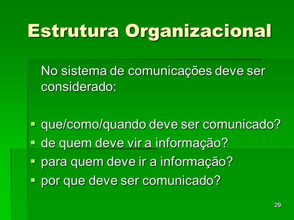 29 Estrutura Organizacional No sistema de comunicações deve ser considerado: que/como/quando deve ser comunicado? que/como/quando deve ser comunicado?