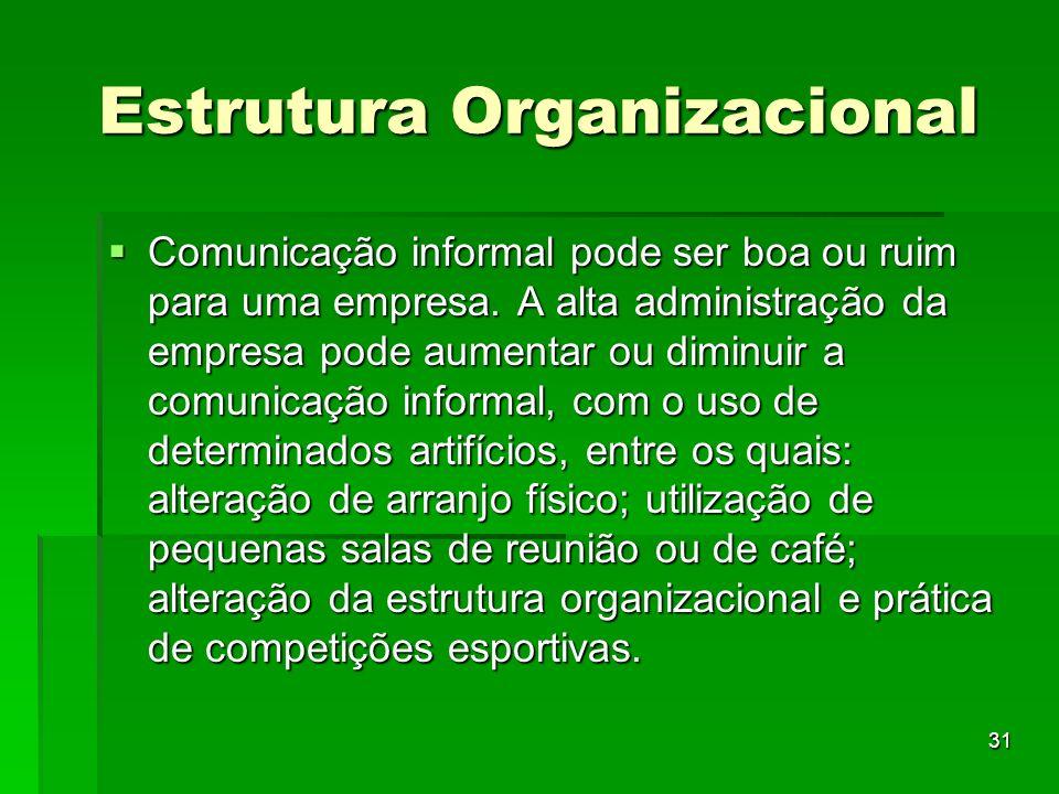 31 Estrutura Organizacional Comunicação informal pode ser boa ou ruim para uma empresa. A alta administração da empresa pode aumentar ou diminuir a co