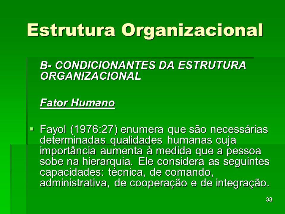 33 Estrutura Organizacional B- CONDICIONANTES DA ESTRUTURA ORGANIZACIONAL Fator Humano Fayol (1976:27) enumera que são necessárias determinadas qualid