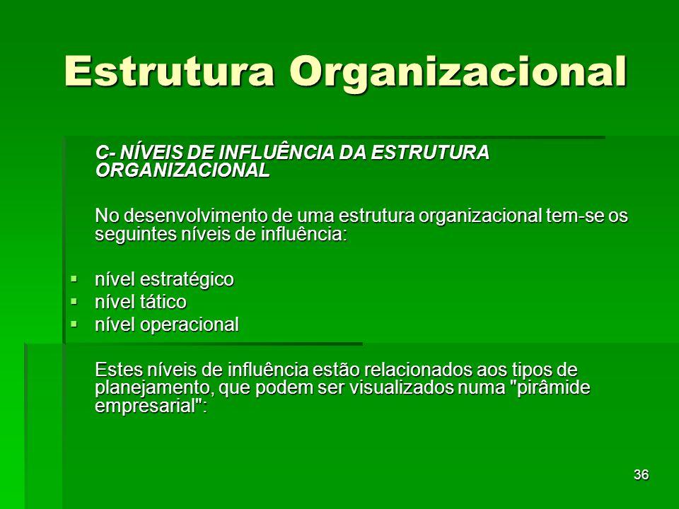 36 Estrutura Organizacional C- NÍVEIS DE INFLUÊNCIA DA ESTRUTURA ORGANIZACIONAL No desenvolvimento de uma estrutura organizacional tem-se os seguintes