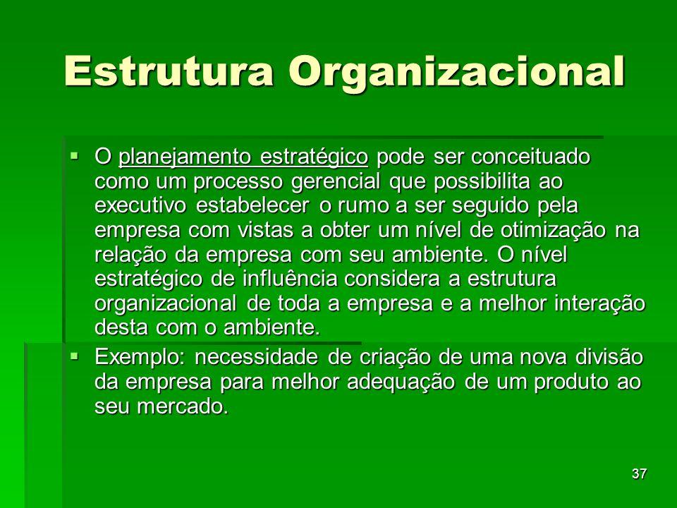 37 Estrutura Organizacional O planejamento estratégico pode ser conceituado como um processo gerencial que possibilita ao executivo estabelecer o rumo