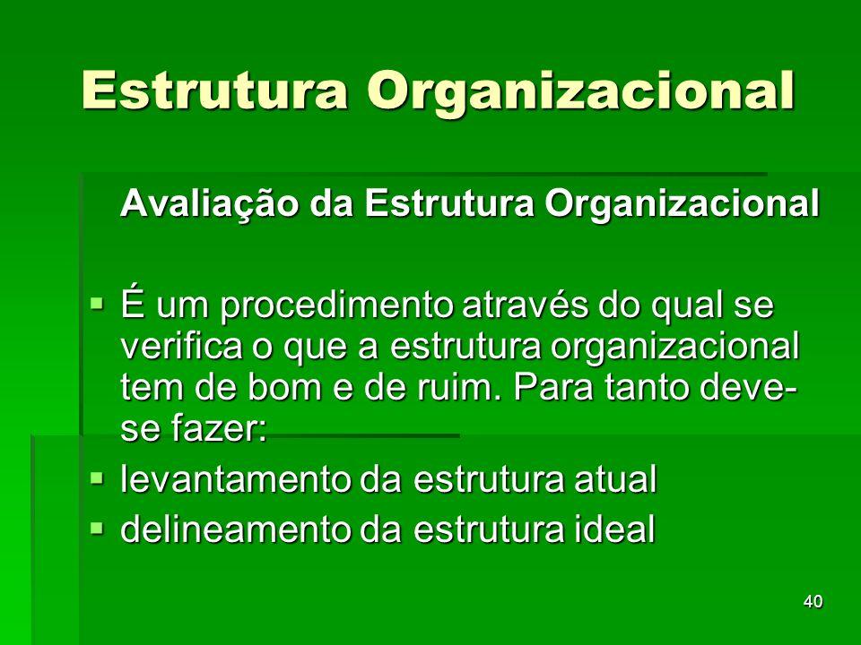 40 Estrutura Organizacional Avaliação da Estrutura Organizacional É um procedimento através do qual se verifica o que a estrutura organizacional tem d