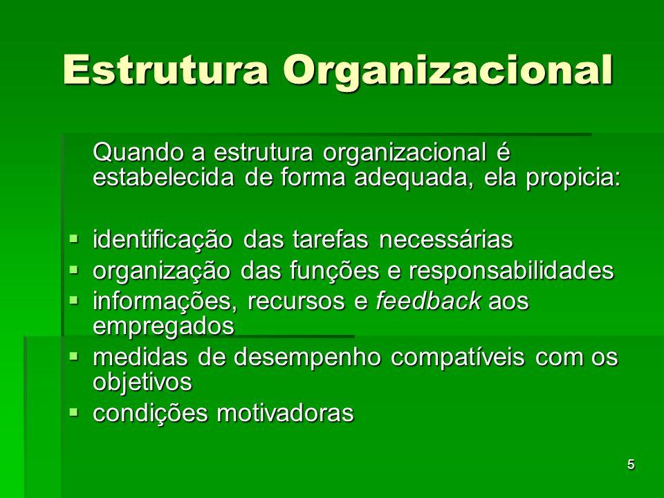 5 Estrutura Organizacional Quando a estrutura organizacional é estabelecida de forma adequada, ela propicia: identificação das tarefas necessárias ide
