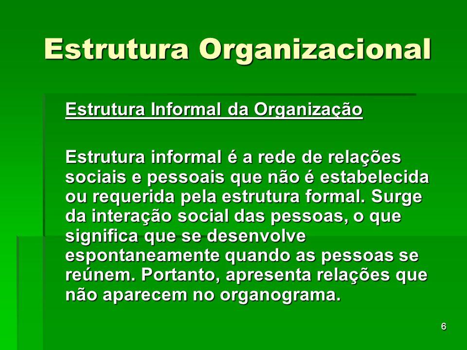 6 Estrutura Organizacional Estrutura Informal da Organização Estrutura informal é a rede de relações sociais e pessoais que não é estabelecida ou requ