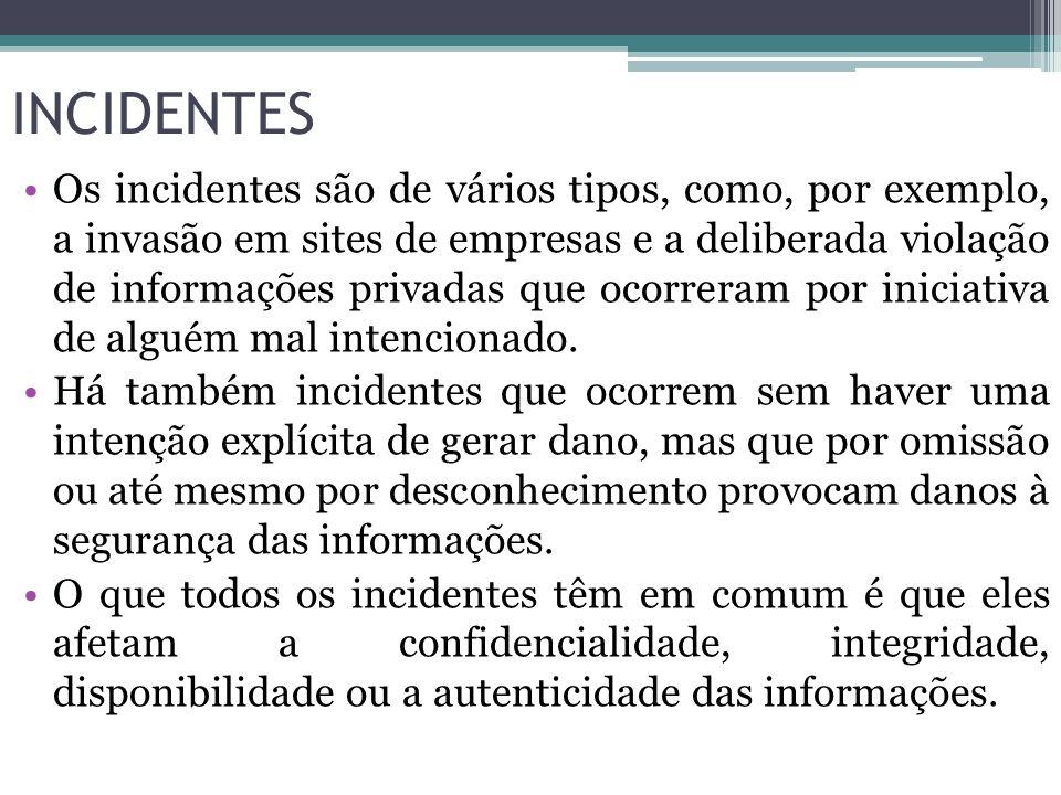INCIDENTES Os incidentes são de vários tipos, como, por exemplo, a invasão em sites de empresas e a deliberada violação de informações privadas que oc