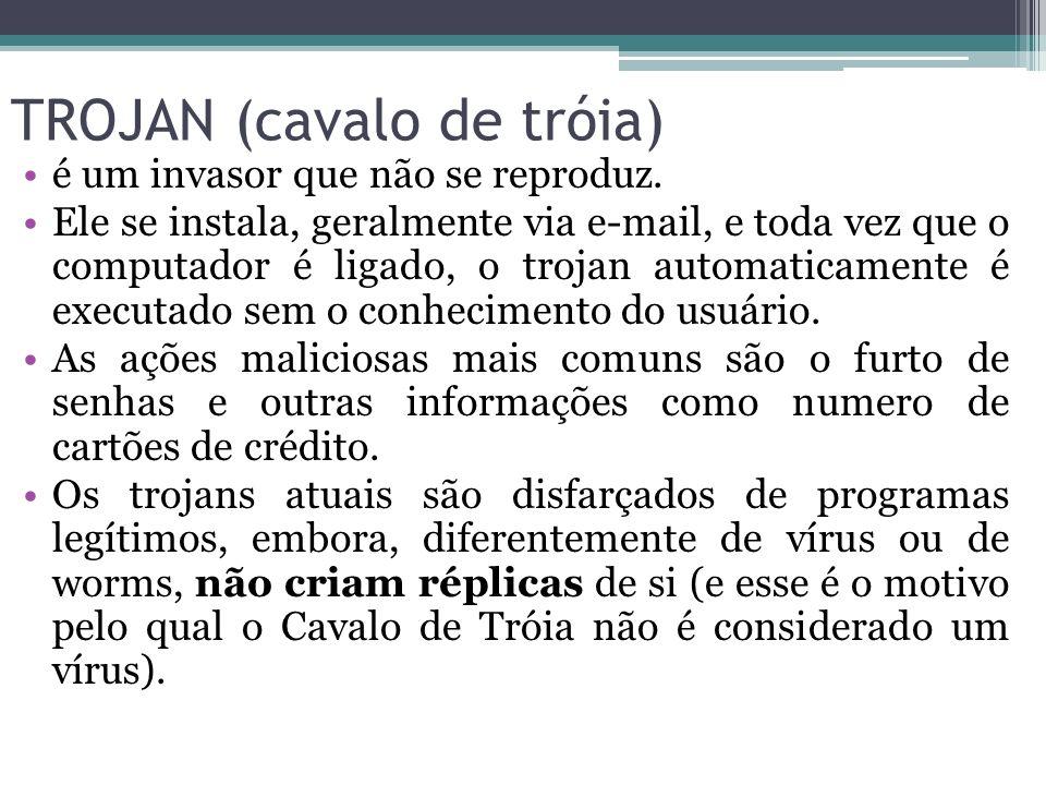 TROJAN (cavalo de tróia) é um invasor que não se reproduz. Ele se instala, geralmente via e-mail, e toda vez que o computador é ligado, o trojan autom
