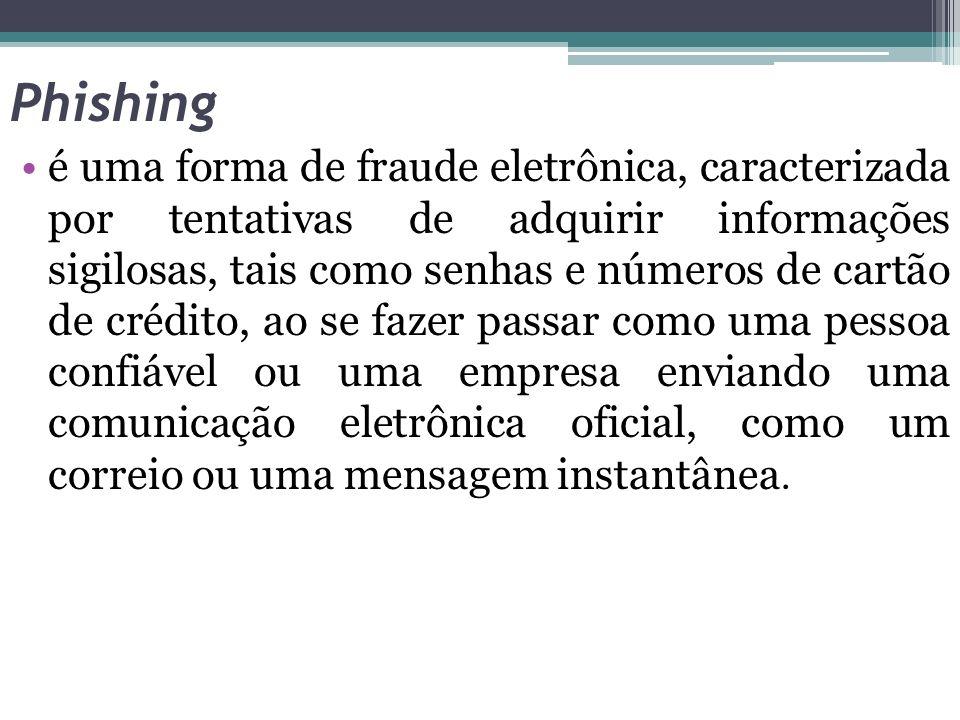 Phishing é uma forma de fraude eletrônica, caracterizada por tentativas de adquirir informações sigilosas, tais como senhas e números de cartão de cré