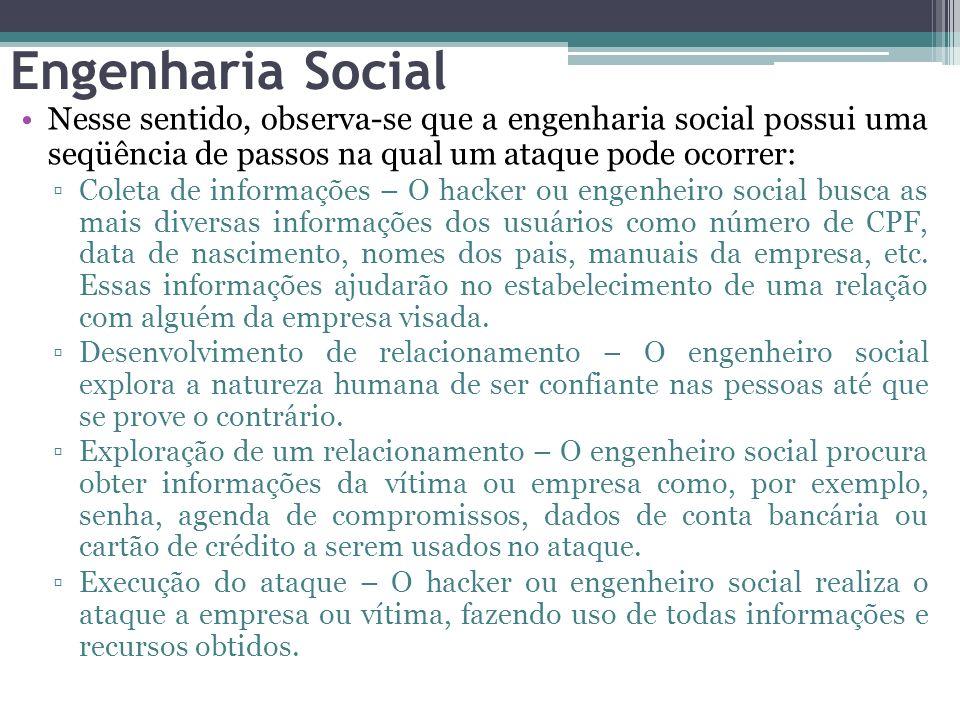 Engenharia Social Nesse sentido, observa-se que a engenharia social possui uma seqüência de passos na qual um ataque pode ocorrer: Coleta de informaçõ