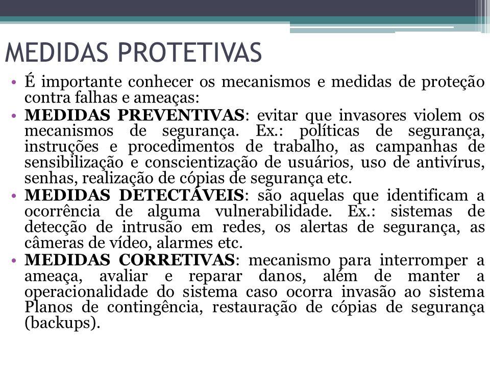 MEDIDAS PROTETIVAS É importante conhecer os mecanismos e medidas de proteção contra falhas e ameaças: MEDIDAS PREVENTIVAS: evitar que invasores violem