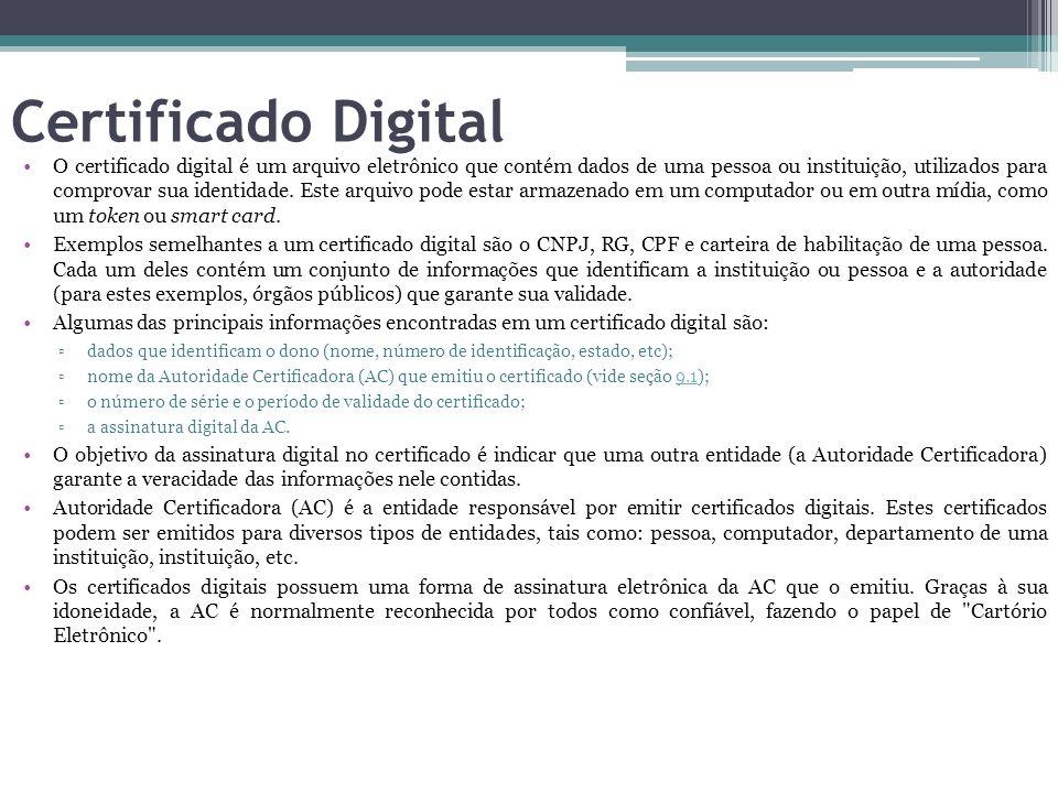Certificado Digital O certificado digital é um arquivo eletrônico que contém dados de uma pessoa ou instituição, utilizados para comprovar sua identid