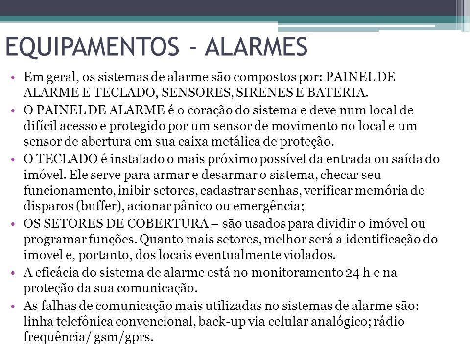 EQUIPAMENTOS - ALARMES Em geral, os sistemas de alarme são compostos por: PAINEL DE ALARME E TECLADO, SENSORES, SIRENES E BATERIA. O PAINEL DE ALARME
