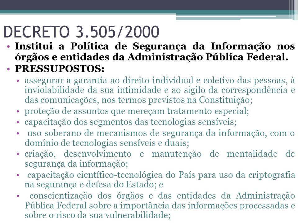 DECRETO 3.505/2000 Institui a Política de Segurança da Informação nos órgãos e entidades da Administração Pública Federal. PRESSUPOSTOS: assegurar a g