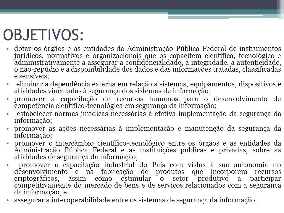 OBJETIVOS: dotar os órgãos e as entidades da Administração Pública Federal de instrumentos jurídicos, normativos e organizacionais que os capacitem ci