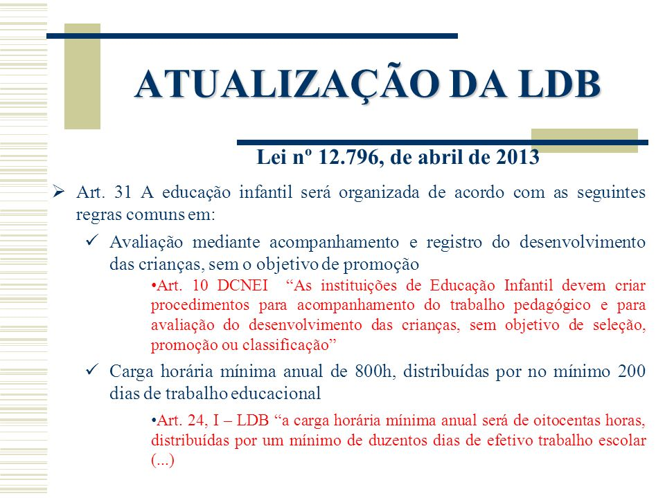ATUALIZAÇÃO DA LDB Lei nº 12.796, de abril de 2013 Art. 31 A educação infantil será organizada de acordo com as seguintes regras comuns em: Avaliação
