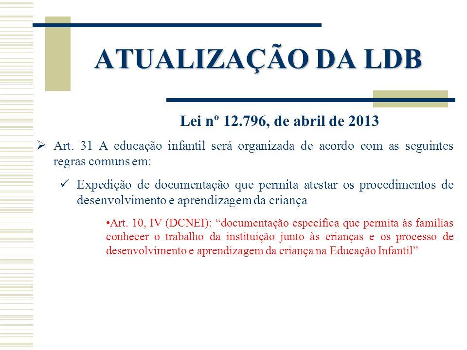 ATUALIZAÇÃO DA LDB Lei nº 12.796, de abril de 2013 Art. 31 A educação infantil será organizada de acordo com as seguintes regras comuns em: Expedição
