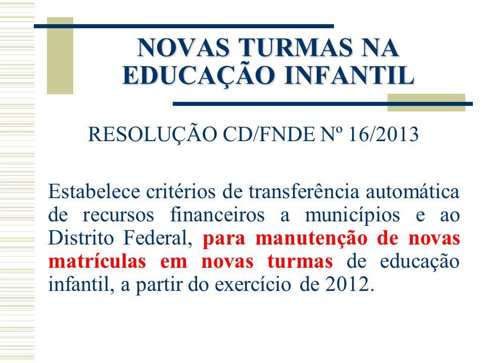 NOVAS TURMAS NA EDUCAÇÃO INFANTIL RESOLUÇÃO CD/FNDE Nº 16/2013 Estabelece critérios de transferência automática de recursos financeiros a municípios e