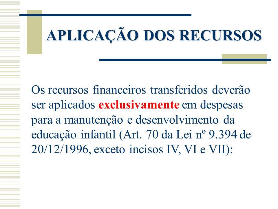 APLICAÇÃO DOS RECURSOS Os recursos financeiros transferidos deverão ser aplicados exclusivamente em despesas para a manutenção e desenvolvimento da ed