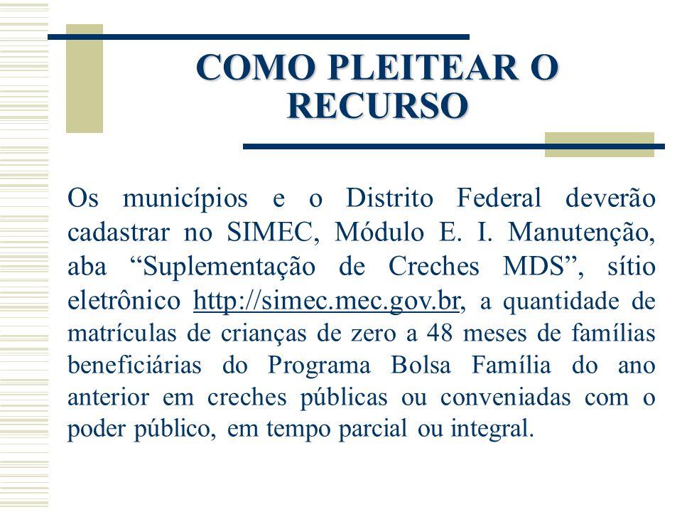 COMO PLEITEAR O RECURSO Os municípios e o Distrito Federal deverão cadastrar no SIMEC, Módulo E. I. Manutenção, aba Suplementação de Creches MDS, síti