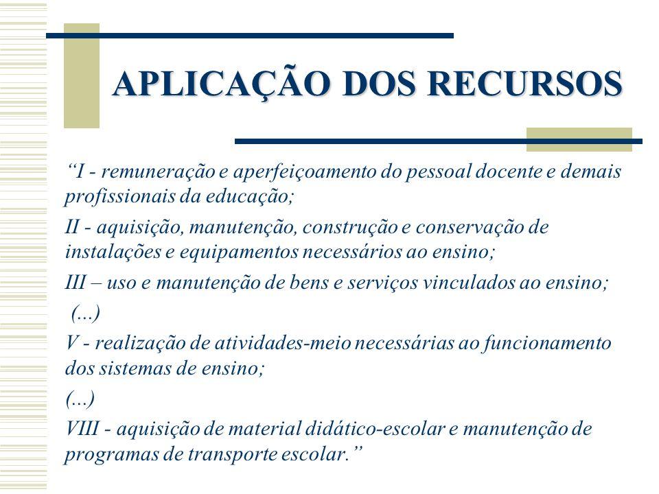 APLICAÇÃO DOS RECURSOS I - remuneração e aperfeiçoamento do pessoal docente e demais profissionais da educação; II - aquisição, manutenção, construção