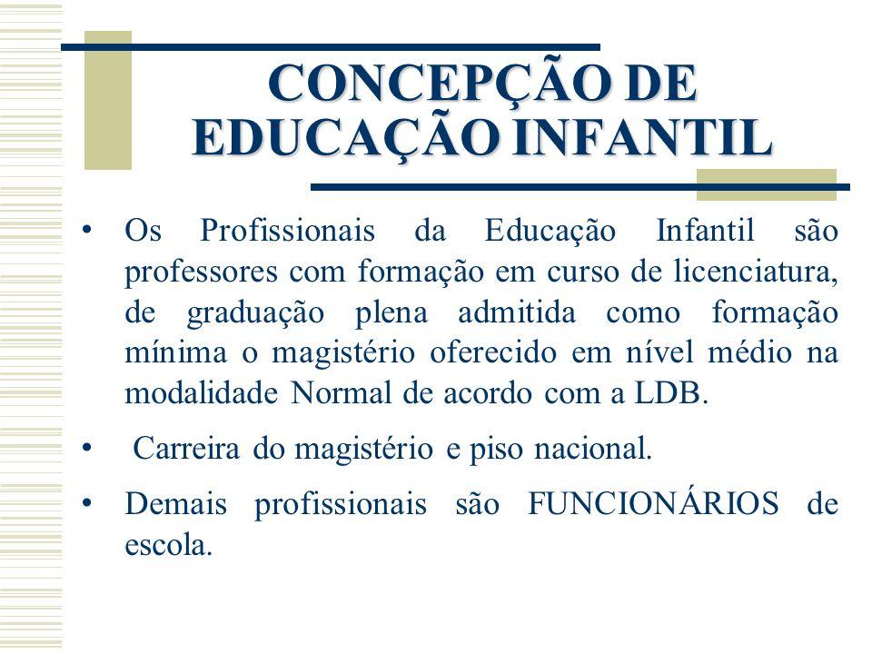 Os Profissionais da Educação Infantil são professores com formação em curso de licenciatura, de graduação plena admitida como formação mínima o magist