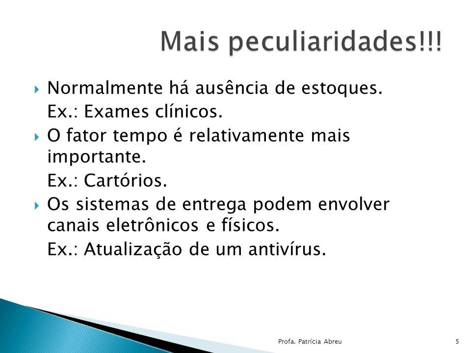 Normalmente há ausência de estoques. Ex.: Exames clínicos. O fator tempo é relativamente mais importante. Ex.: Cartórios. Os sistemas de entrega podem