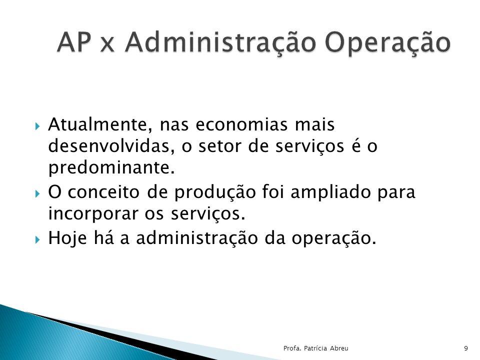 Atualmente, nas economias mais desenvolvidas, o setor de serviços é o predominante. O conceito de produção foi ampliado para incorporar os serviços. H