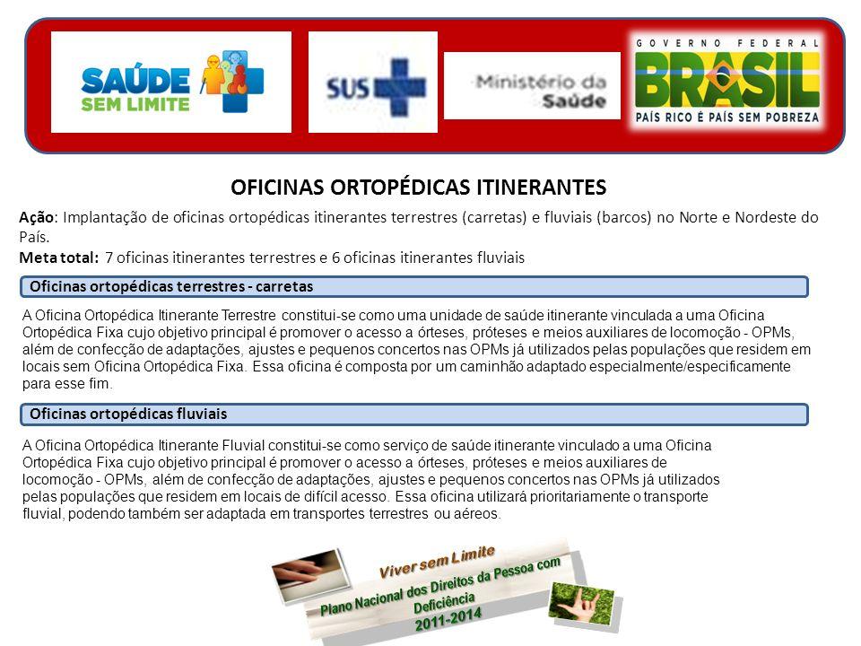 OFICINAS ORTOPÉDICAS ITINERANTES Ação: Implantação de oficinas ortopédicas itinerantes terrestres (carretas) e fluviais (barcos) no Norte e Nordeste do País.