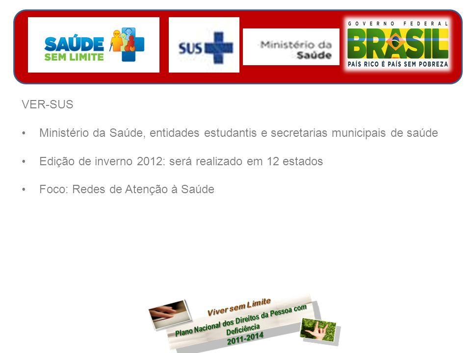 VER-SUS Ministério da Saúde, entidades estudantis e secretarias municipais de saúde Edição de inverno 2012: será realizado em 12 estados Foco: Redes de Atenção à Saúde