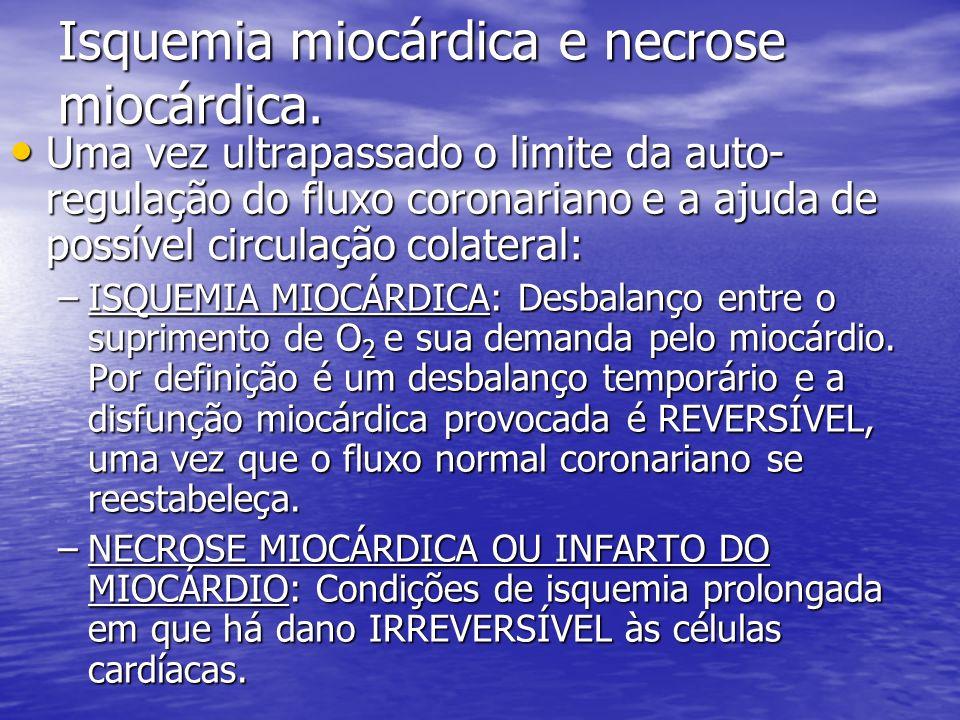 Isquemia miocárdica e necrose miocárdica. Uma vez ultrapassado o limite da auto- regulação do fluxo coronariano e a ajuda de possível circulação colat