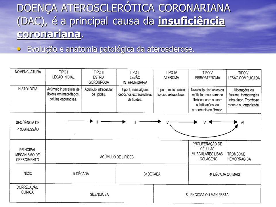 DOENÇA ATEROSCLERÓTICA CORONARIANA (DAC), é a principal causa da insuficiência coronariana. Evolução e anatomia patológica da aterosclerose. Evolução