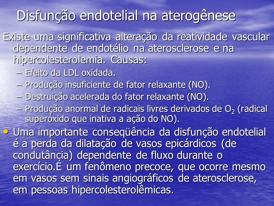 Disfunção endotelial na aterogênese Existe uma significativa alteração da reatividade vascular dependente de endotélio na aterosclerose e na hipercole
