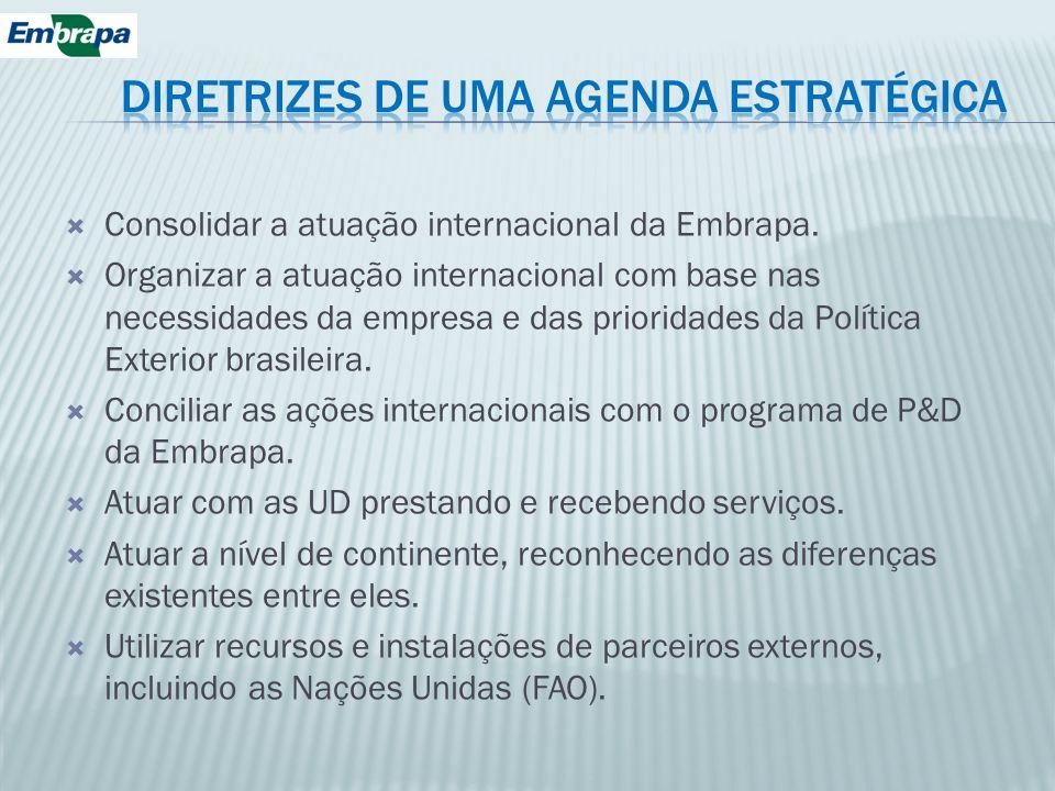 Consolidar a atuação internacional da Embrapa. Organizar a atuação internacional com base nas necessidades da empresa e das prioridades da Política Ex