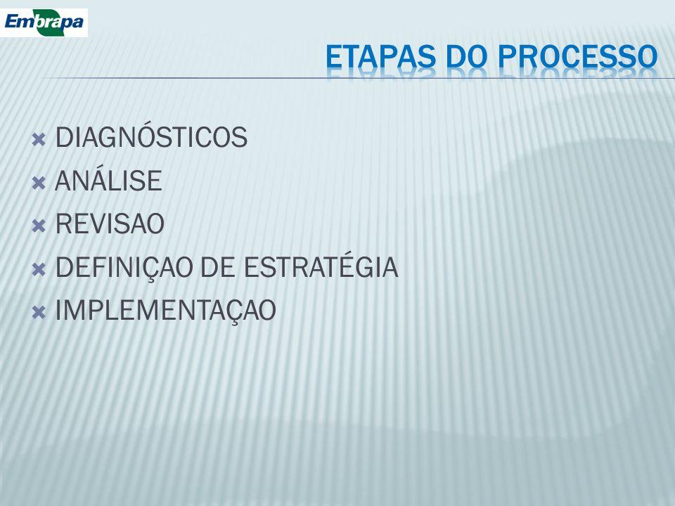 DIAGNÓSTICOS ANÁLISE REVISAO DEFINIÇAO DE ESTRATÉGIA IMPLEMENTAÇAO