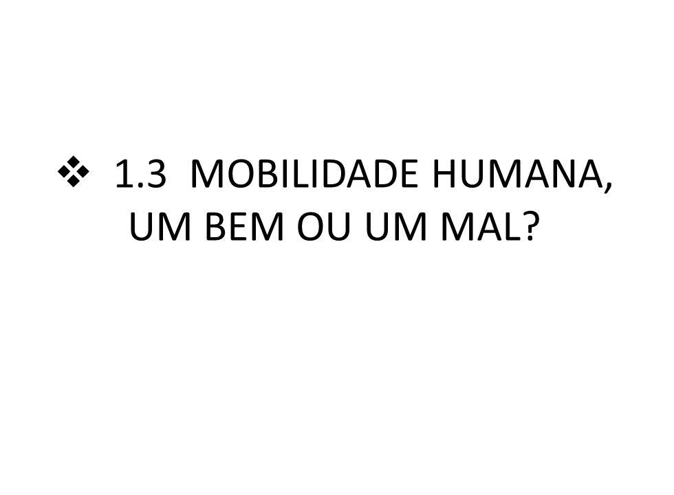 1.3 MOBILIDADE HUMANA, UM BEM OU UM MAL?