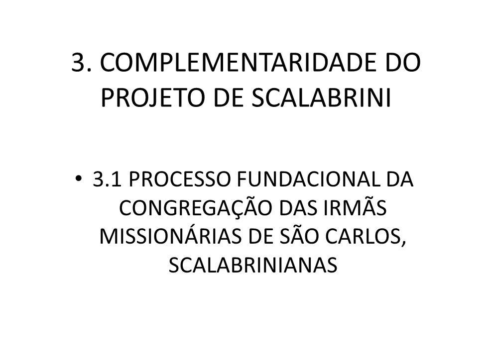 3. COMPLEMENTARIDADE DO PROJETO DE SCALABRINI 3.1 PROCESSO FUNDACIONAL DA CONGREGAÇÃO DAS IRMÃS MISSIONÁRIAS DE SÃO CARLOS, SCALABRINIANAS