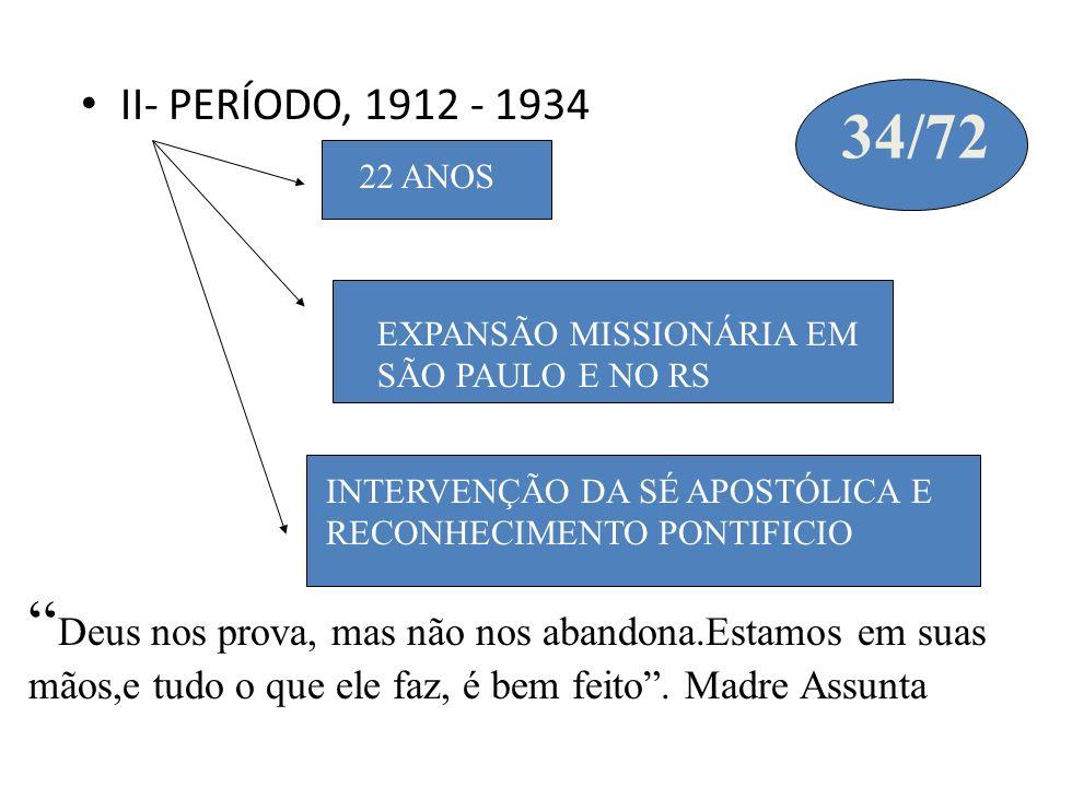 II- PERÍODO, 1912 - 1934 22 ANOS EXPANSÃO MISSIONÁRIA EM SÃO PAULO E NO RS INTERVENÇÃO DA SÉ APOSTÓLICA E RECONHECIMENTO PONTIFICIO 34/72 Deus nos pro