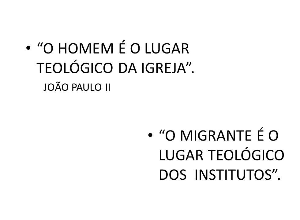 O HOMEM É O LUGAR TEOLÓGICO DA IGREJA. JOÃO PAULO II O MIGRANTE É O LUGAR TEOLÓGICO DOS INSTITUTOS.