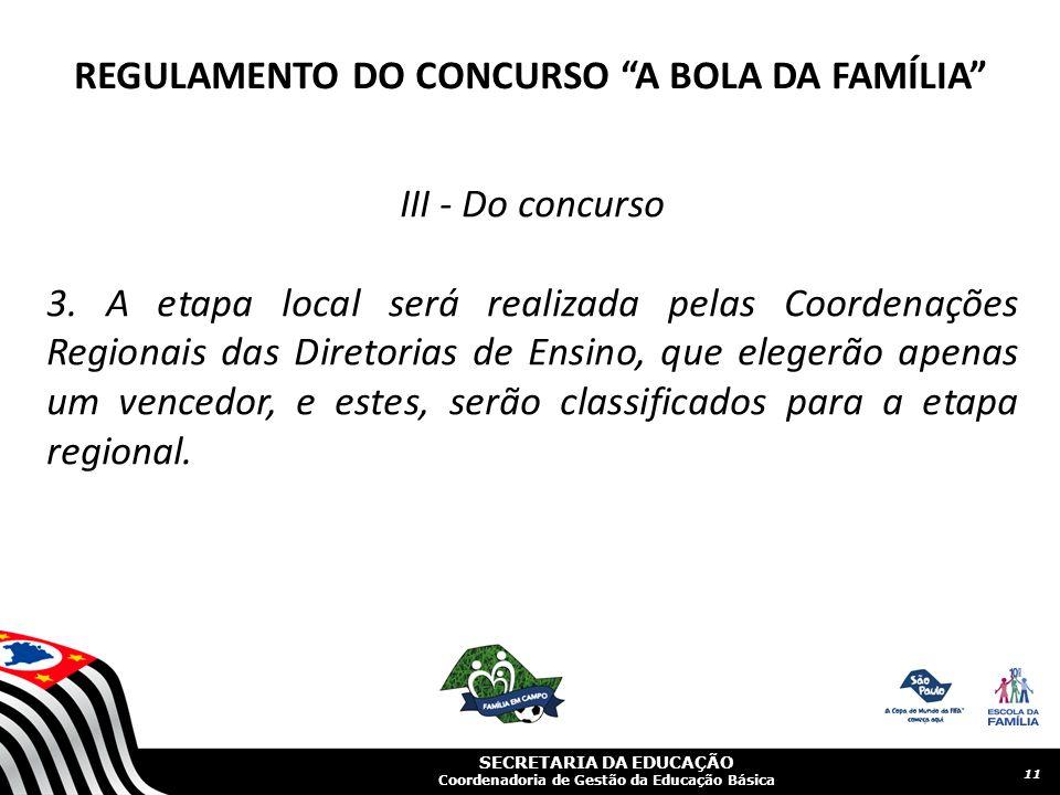 SECRETARIA DA EDUCAÇÃO Coordenadoria de Gestão da Educação Básica III - Do concurso 3.