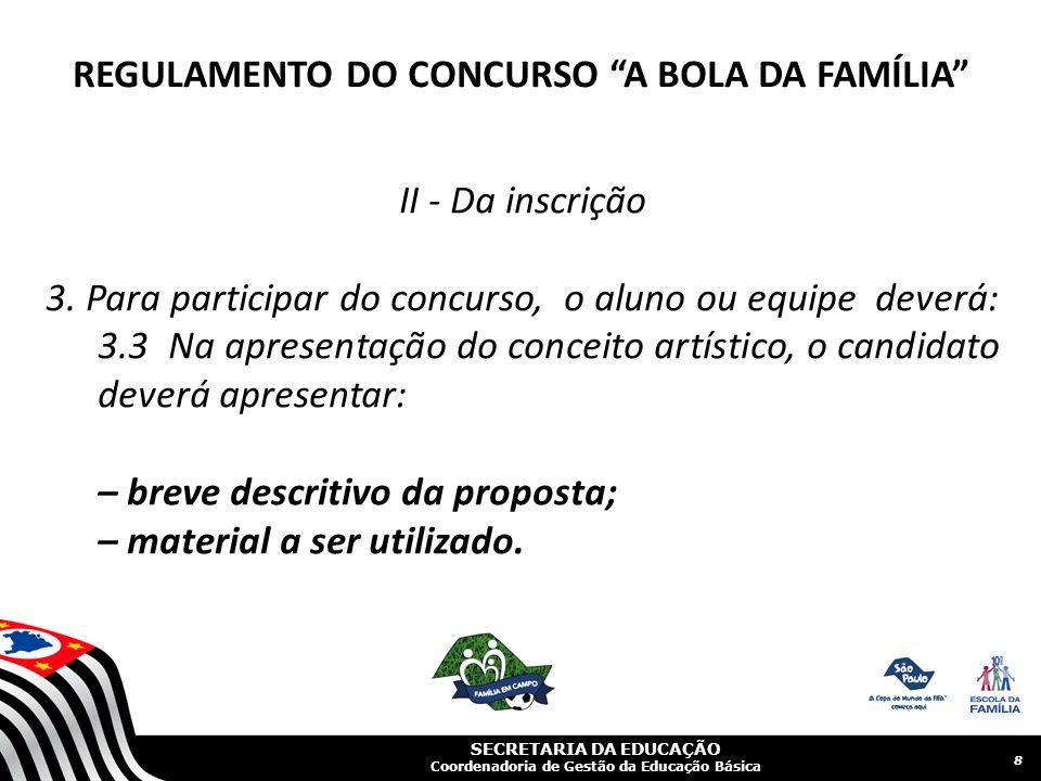 SECRETARIA DA EDUCAÇÃO Coordenadoria de Gestão da Educação Básica II - Da inscrição 3.