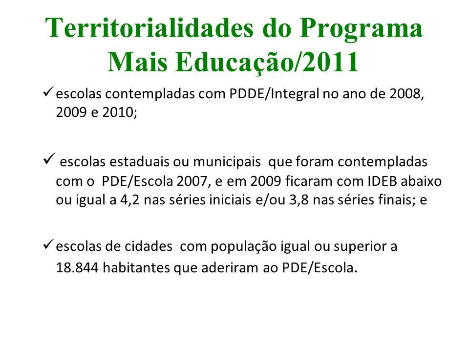 Territorialidades do Programa Mais Educação/2011 escolas contempladas com PDDE/Integral no ano de 2008, 2009 e 2010; escolas estaduais ou municipais q