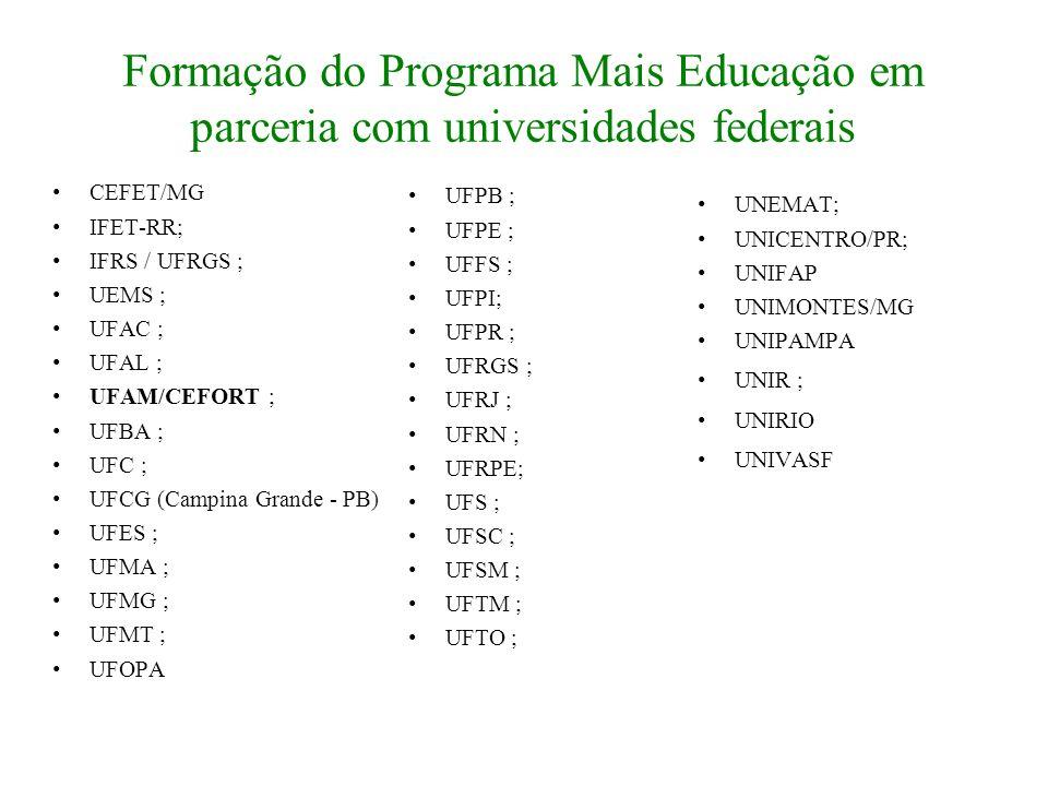 Formação do Programa Mais Educação em parceria com universidades federais CEFET/MG IFET-RR; IFRS / UFRGS ; UEMS ; UFAC ; UFAL ; UFAM/CEFORT ; UFBA ; U