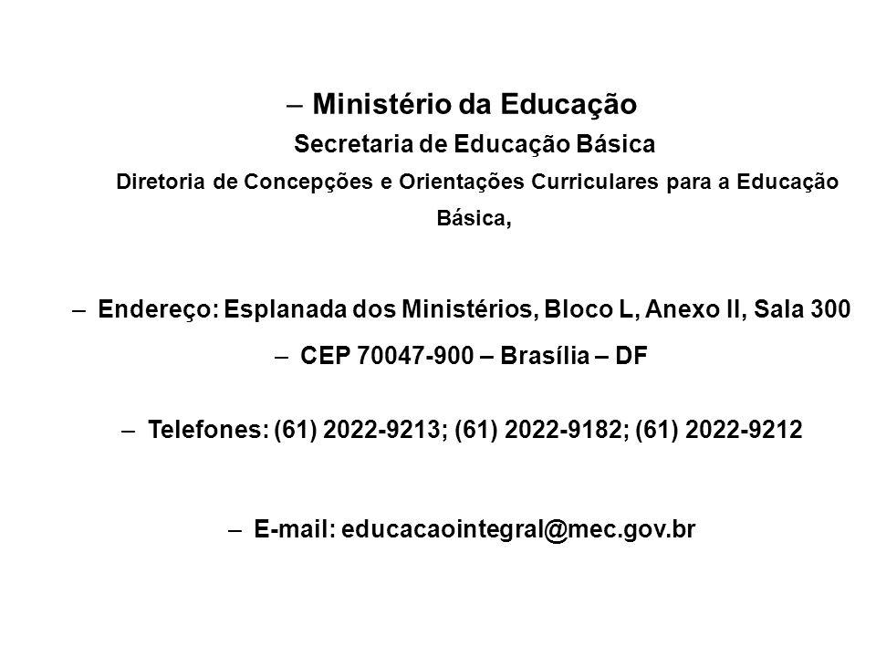 –Ministério da Educação Secretaria de Educação Básica Diretoria de Concepções e Orientações Curriculares para a Educação Básica, –Endereço: Esplanada