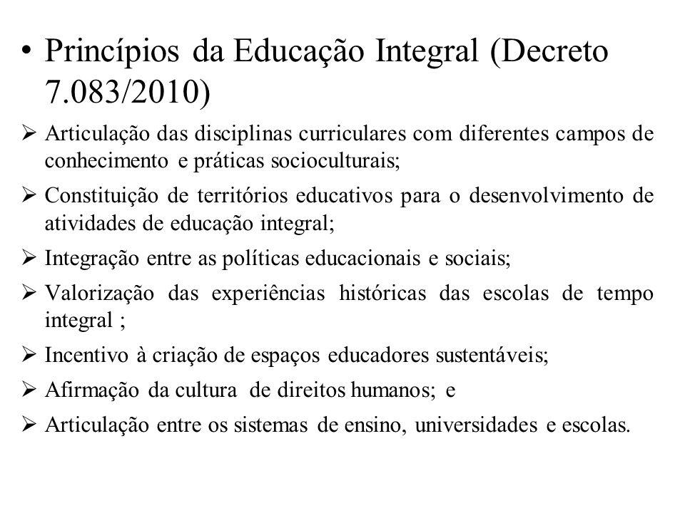 Princípios da Educação Integral (Decreto 7.083/2010) Articulação das disciplinas curriculares com diferentes campos de conhecimento e práticas sociocu
