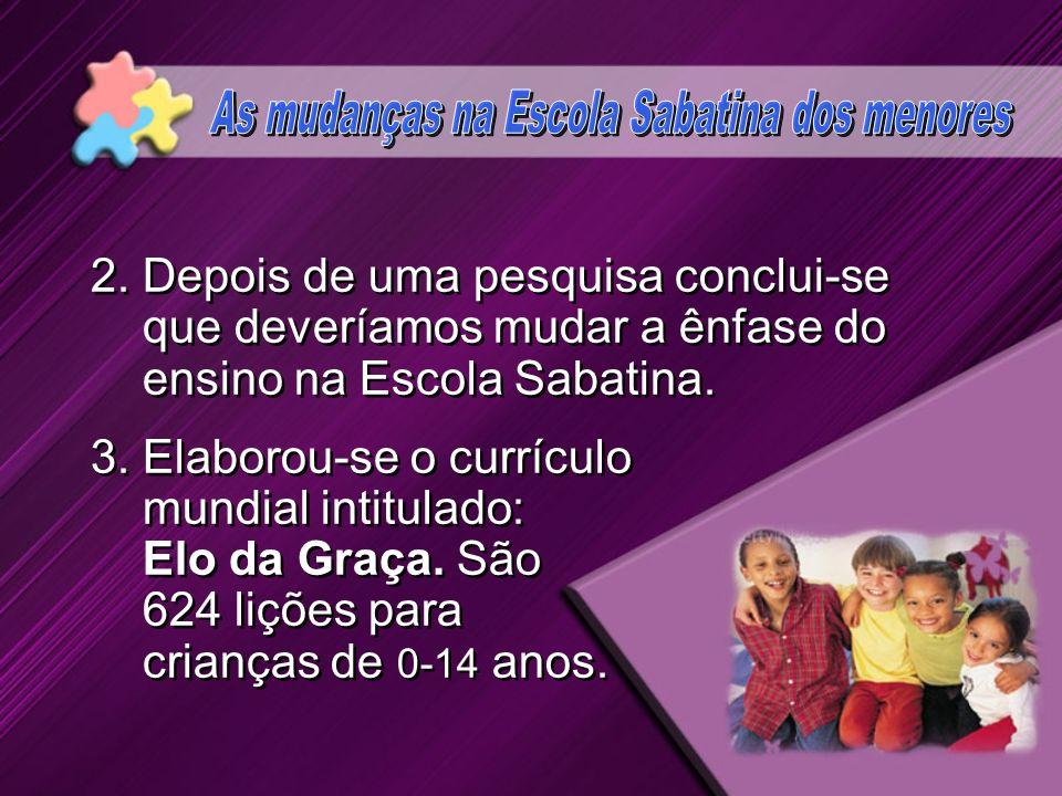 1.A Igreja Adventista Mundial resolveu mudar a Escola Sabatina dos Menores. POR QUÊ? 1.A Igreja Adventista Mundial resolveu mudar a Escola Sabatina do